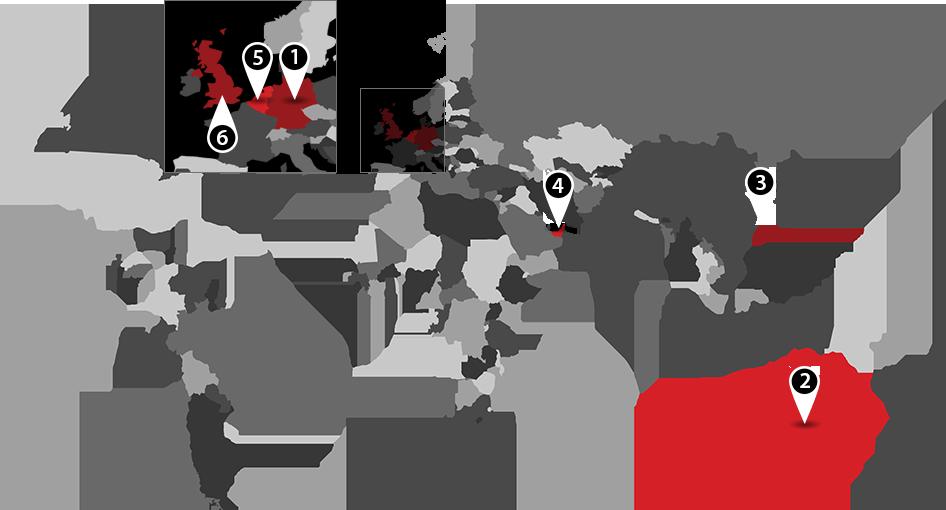 World map of FloorStak locations